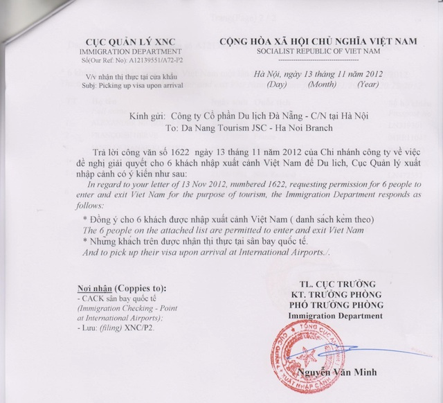Vietnam Visa Letter