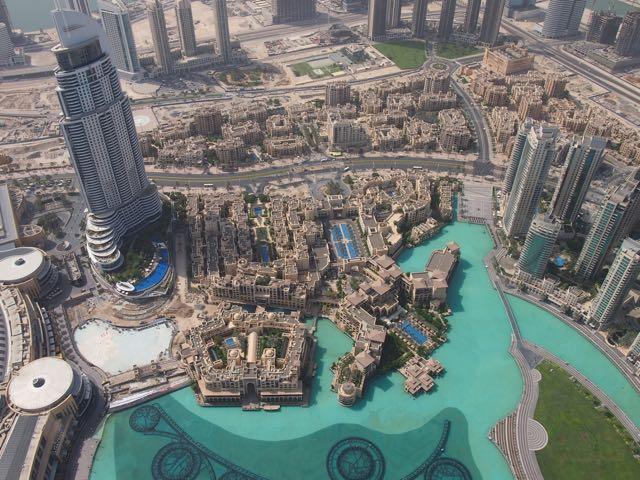 Dubai mit Fountain von oben