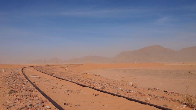 Eisenbahn in der Wüste Jordaniens