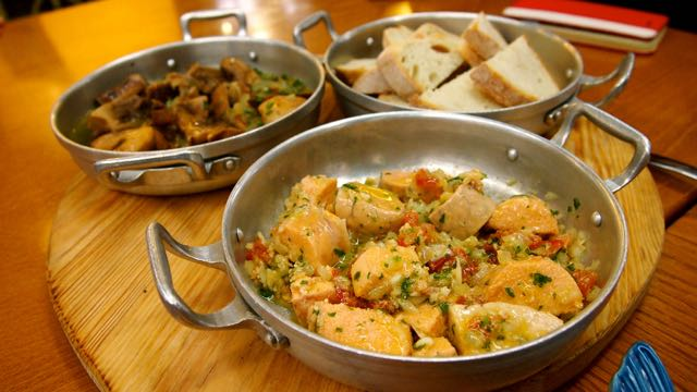 Fisch und Pilze im Mercado